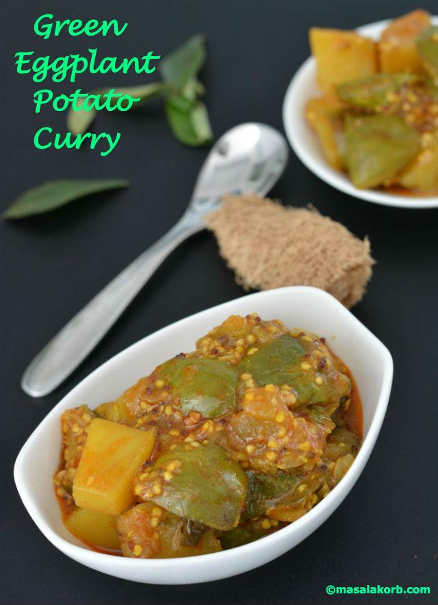 Green Eggplant Potato Curry - Masalakorb