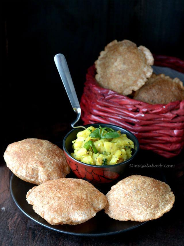 How to make puffy poori   Indian Puri Recipe V5