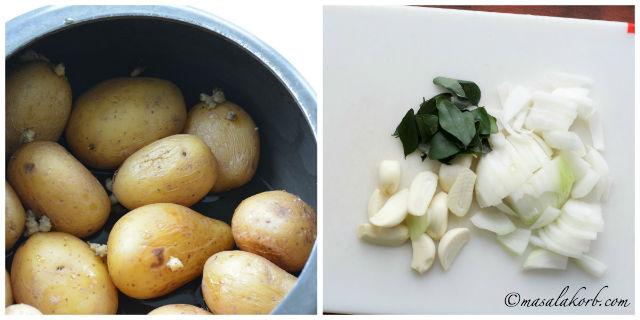 step1- boil potatoes & chop onions